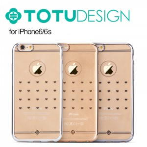 iPhone 6 / 6S Original TOTU Electroplating TPU Cover - Hearts - Guld
