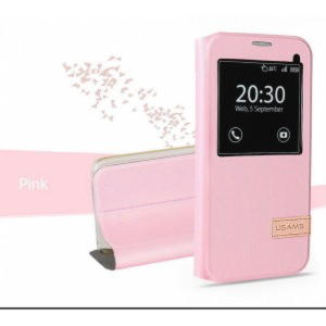 Samaung Galaxy S7 Usams Muge Series View Cover - Pink