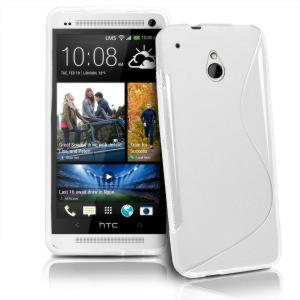 HTC One Mini (M4) TPU S Line Cover - Sort / Hvid