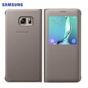 Original Samsung Galaxy S6 Edge Plus S view Cover - Guld