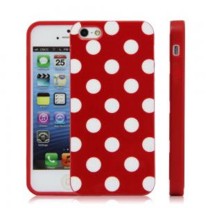 iPhone 5 / 5S / SE Polka Cover - Rød