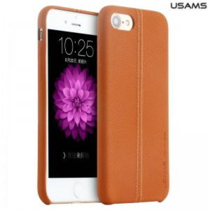 iPhone 7 Usams Joe Series Læder Cover - Brun