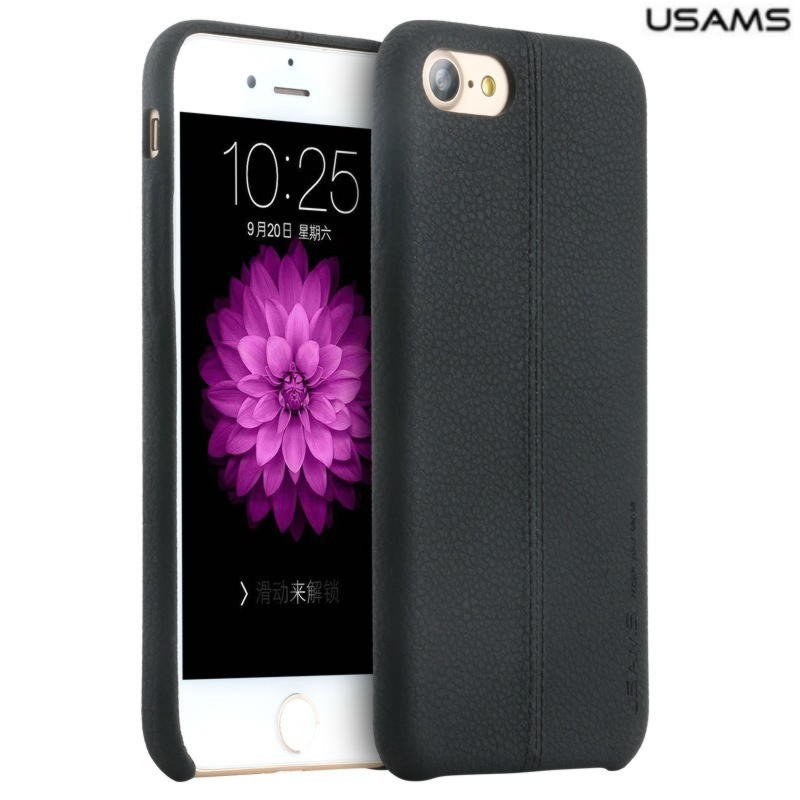 iPhone 7 Plus Usams Joe Series Læder Cover - Sort