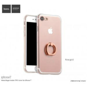 iPhone 7 HOCO TPU Cover Med Ring Holder - Transparent