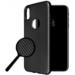 iPhone X OKKES Carbon TPU Cover - Sort