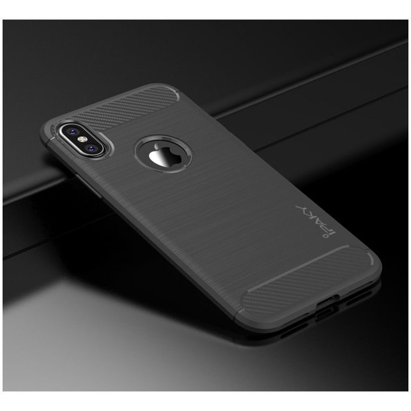 iPhone X iPAKY Carbon TPU Cover - Grå