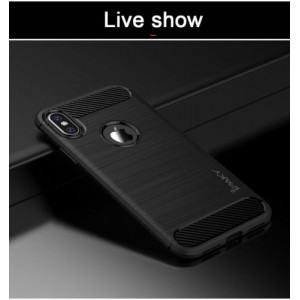 iPhone X iPAKY Carbon TPU Cover - Sort