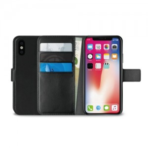 iPhone X Puro Milano wallet Med Kortholder - Sort