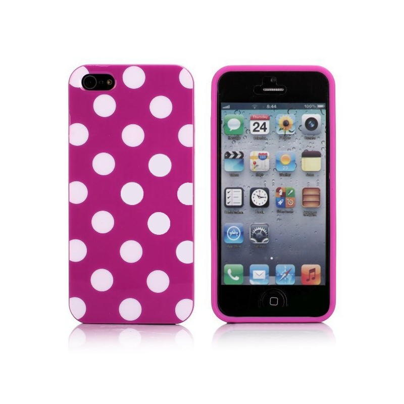 iPhone 5 / 5S / SE Polka Cover - Lilla