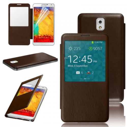 Samsung Galaxy Note 3 View Cover - Brun