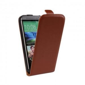 HTC One m8 Flip Læder Cover - Brun